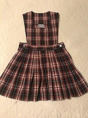 Parker Navy Red plaid jumper dress school uniform size 5 Yellow White