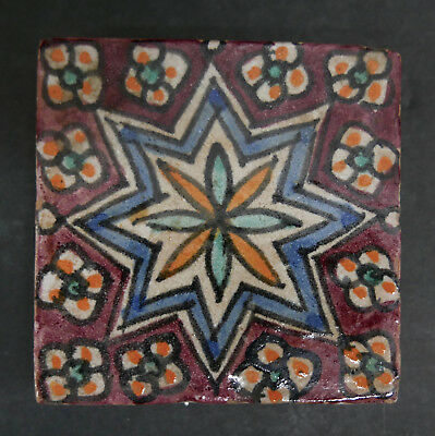 Colorful Tunisian Style Tile with Star Pattern