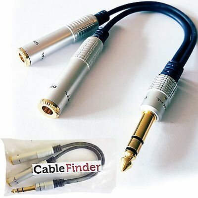 """PRO 6.35mm Stereo Splitter Cable- 1/4"""" Plug To 2 x Jack Socket Gold Headphone Y"""