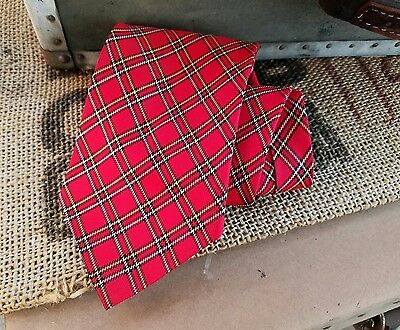 crazy cool true vintage 60s red cotton plaid neck tie silky optical illusion htf