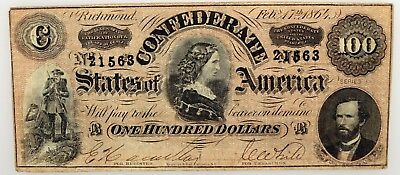 1864 $100 Confederate States Of America Note Women Of The South Circulated NR