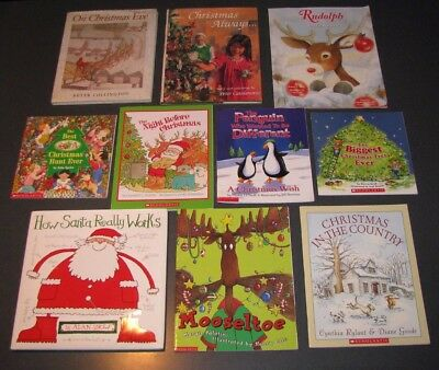 Lot of 10 CHRISTMAS PICTURE BOOKS~Ages 4-8~Mooseltoe~Rylant~Marshall~Scholastic+