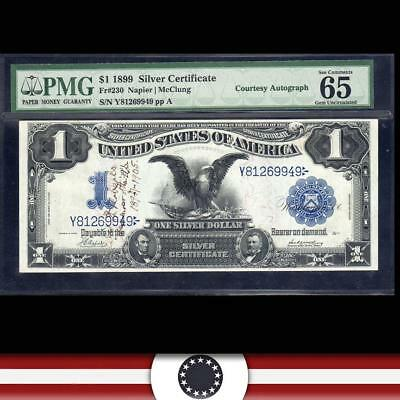 1899 $1 Silver Certificate Courtesy Autograph PMG 65 EPQ Fr 230    Y81269949