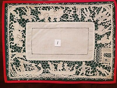 Point de Venise Needle Lace Antique Six Italian Medieval Placemats