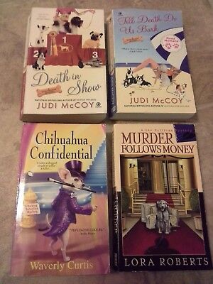 "Lot of 4 Cozy Mystery:  2 Judi McCoy ""Dog Walker"" & Curtis, & Roberts"
