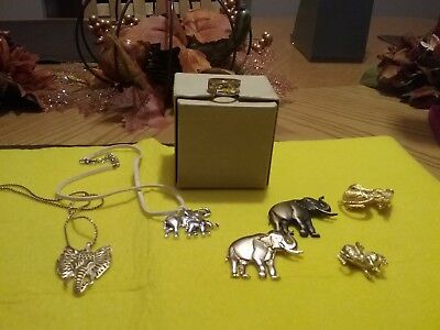 Vintage Elephant style jewelry, necklaces, pins and 1 10kGP ring