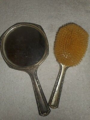 Antique Sterling Brush and Mirror