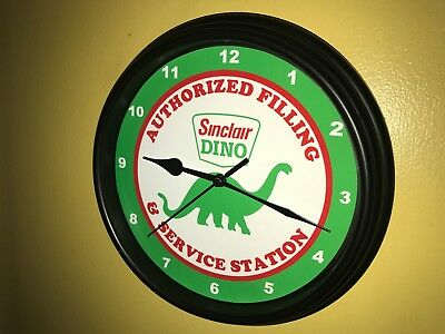 Sinclair Dino Oil Gas Service Station Mechanic Garage Man Cave Wall Clock Sign