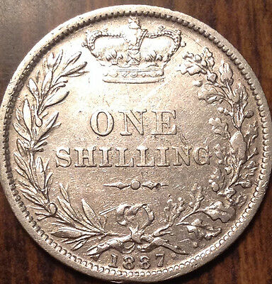 1887 Uk Gb Great Britain Silver Shilling In Magnificent Condition !!