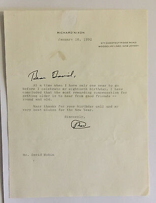 PRESIDENT NIXON 79th BIRTHDAY LETTER SIGNED TO ROEBLING SON/EISENHOWER VICE PRES