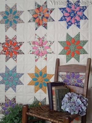 Gorgeous GIFT QUALITY Vintage 30s Missouri Daisy Stars QUILT Never Used