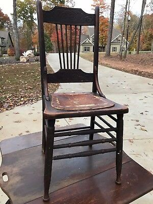 Antique Leather Seat Carved Ladder Back Wooden Chair