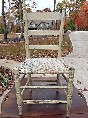 Antique Wooden Spindle and Ladder Back Rush Seat Chair White Paint