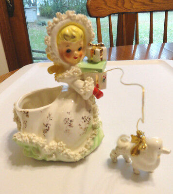 Vintage Napco Christmas Girl Planter w/ Poodle on a Rope