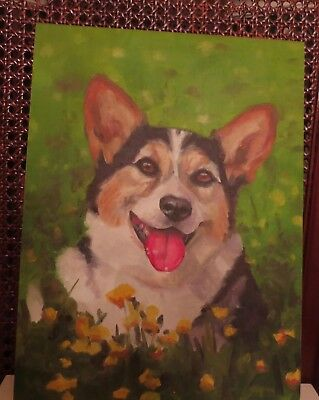 Pembroke Welsh Corgi dog painting