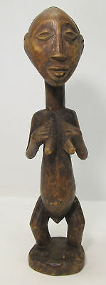 Antique Africa Luba Tribe Congo Tribal Wood Female Vilie Carving Statue yqz