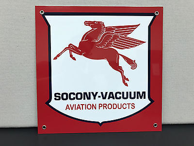 Mobil oil pegasus aviation gasoline vintage advertising sign