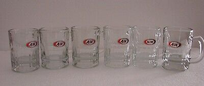 A&W Root Beer Soda Glass Mugs Miniatures - Set of 6  A&W All American Food Logo