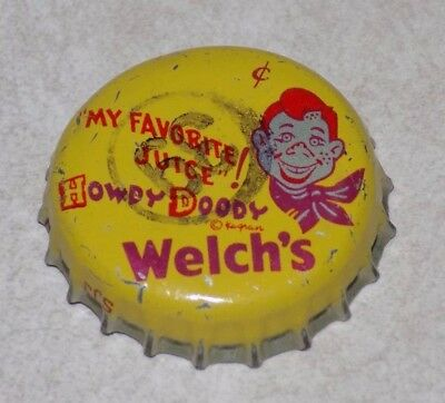 "Vtg WeLch's ""HOWDY DOODY My FavoriTe JUiCE"" BottLe CAP CorK Liner graphics 1950s"