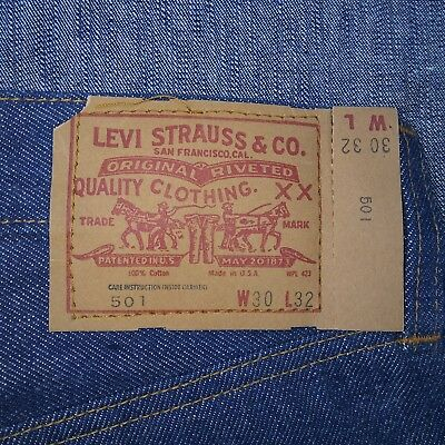 Vintage Levis 501 deadstock Small e Single Stitch 1970s Sz 30x32 Tag