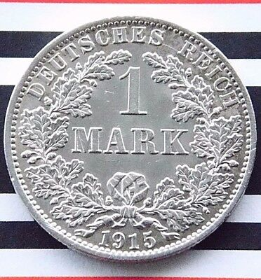GERMAN EMPIRE 1 MARK 1915 A 90% Silver Reich WWI NICE Old Coin History +UNC+ RAR