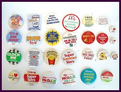VINTAGE McDonalds LOT 27 Advertising PINBACK PIN BACK BUTTONS BADGES McDonald's