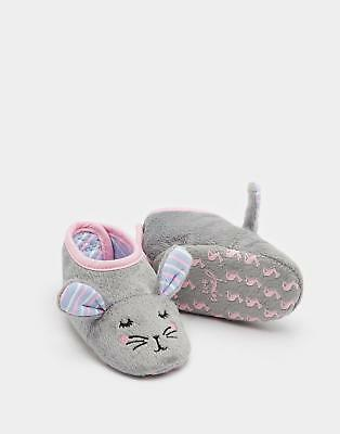 Joules Squeaker Girls Character Slippers with 3D Details Jersey Lining in Hare