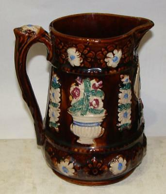 Antique English Measham Ware Bargeware Embossed Pottery Jug, Pitcher, Dated 1902