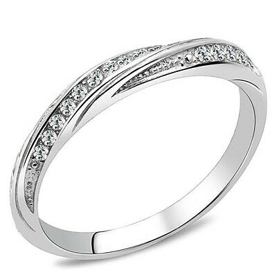 Stackable Twisted Ring CZ Stainless Steel and Cubic Zirconia