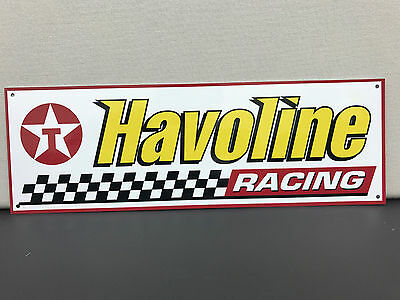 Havoline oil racing garage advertising sign baked