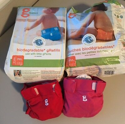gDiapers Two Medium Diapers With Biodegradable Disposable gRefills