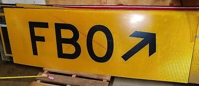 Airport Directional Sign. Authentic, Reflective, New, HUGE. FBO Arrow