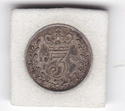 1873   Queen  Victoria  Threepence  (3d)  Solid Silver (92.5%) Coin