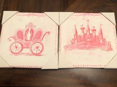 Oopsy Daisy Too Princess, Carriage/Castle Canvas Wall Art, Set of 2