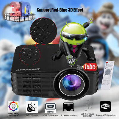 Mini 3D LED Proyector 1500 Lúmenes WIFI Android Projector HD1080P USB/SD/AV/HDMI