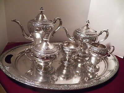 Watson Meadow Rose Sterling Silver 6 Piece Tea Set Including Tray Monogram