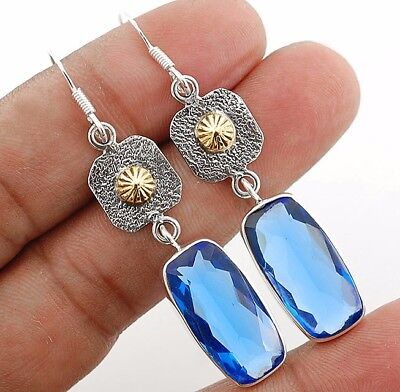 "22CT Sapphire 925 Solid Sterling Silver Earrings Jewelry 2 1/4"" Long"