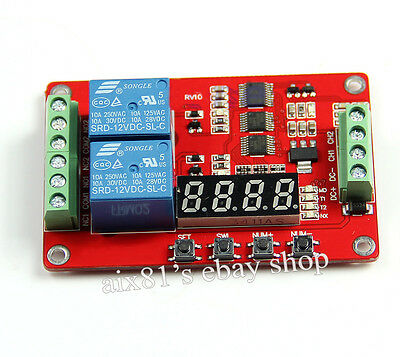 DC 12V Multifunction 2 Channel Relay PLC Self-lock Cycle Timer Time Delay Switch