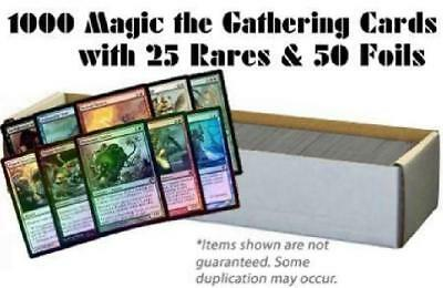 1000 Magic the Gathering Cards with 25 Rares & 50 Foils (MTG) NM Lot