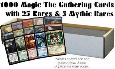 1000 Magic the Gathering Cards with 25 Rares & 5 Mythic Rares (MTG) NM Lot
