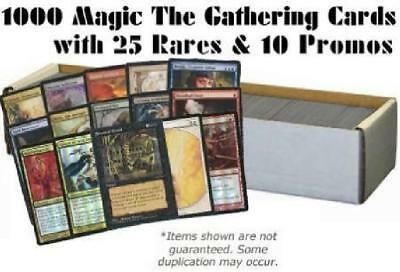 1000 Magic the Gathering Cards with 25 Rares & 10 Promos (MTG) NM Lot
