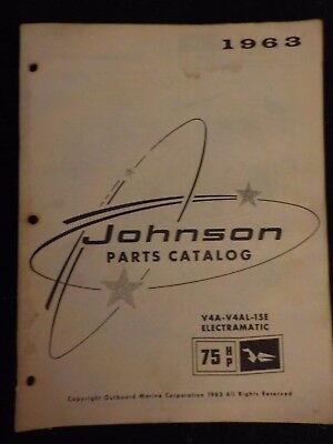 1963 OMC Johnson Sea Horse Outboard Parts Catalog Manual 75 HP V4S ++ DEALER