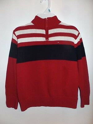 Christmas Sweater Boys Size 7 Tommy Hilfiger Red Striped Zip Collar Pullover UEC