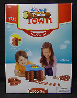 TIMBER TOWN LOG CABIN SET by Kids Stuff  - 100% Real Wood - 70 PIECES - BNIB