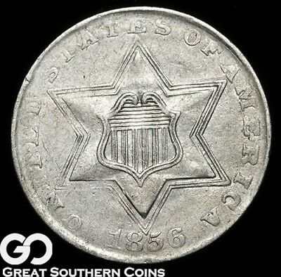 1856 Three Cent Silver, White Choice AU++/Unc Better Date!