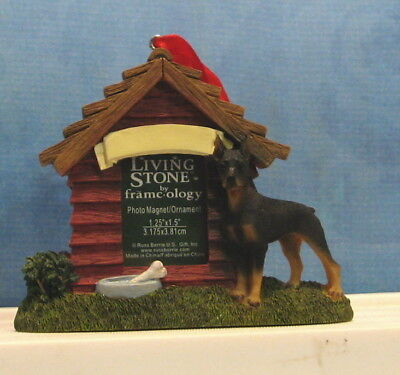 Living Stone DOBERMAN Dog House Photo Magnet Christmas Ornament Nameplate NWT