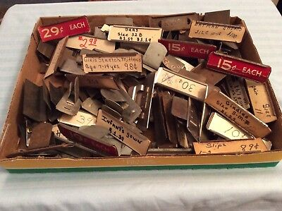 Lot Of 79 Antique Vintage General Store Metal Price Tag Drawer Clips