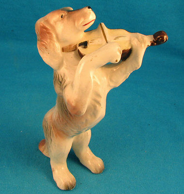 Violin playing dog setter retriever FREE SHIPPING Excellent old vintage antique
