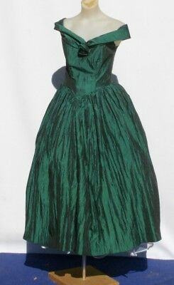VINTAGE 1980s Prom DRESS, Cocktail, Crinkle Green, Party, Dress Up, DRAMA, 10
