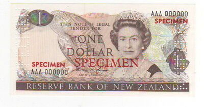 1981-92  New Zealand ,reserve Bank 1 Dollars  Specimen - Unc